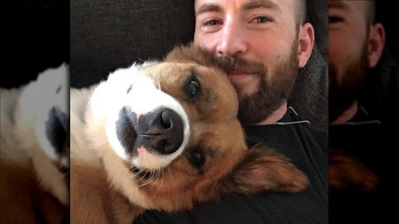 クリス・エヴァンスが犬のドジャーを抱きしめる